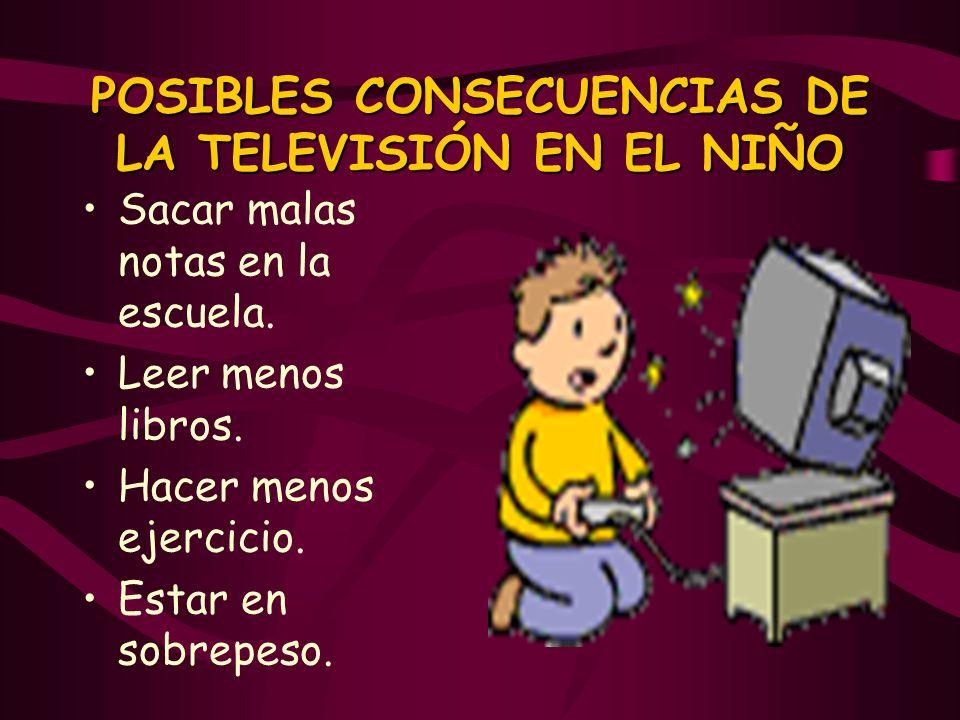 POSIBLES CONSECUENCIAS DE LA TELEVISIÓN EN EL NIÑO Sacar malas notas en la escuela. Leer menos libros. Hacer menos ejercicio. Estar en sobrepeso.