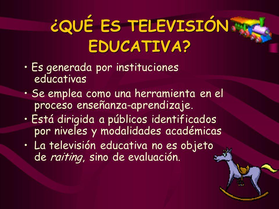 ¿QUÉ ES TELEVISIÓN EDUCATIVA? Es generada por instituciones educativas Se emplea como una herramienta en el proceso enseñanza-aprendizaje. Está dirigi