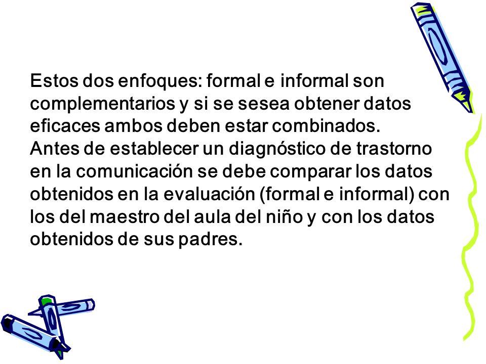 Estos dos enfoques: formal e informal son complementarios y si se sesea obtener datos eficaces ambos deben estar combinados. Antes de establecer un di
