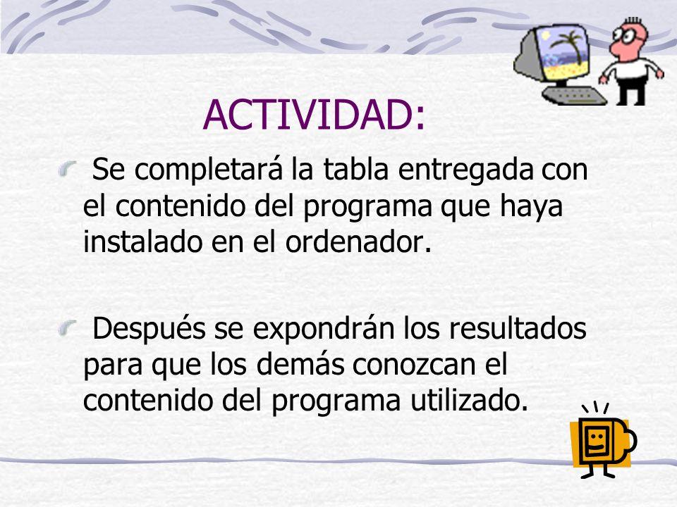 ACTIVIDAD: Se completará la tabla entregada con el contenido del programa que haya instalado en el ordenador. Después se expondrán los resultados para