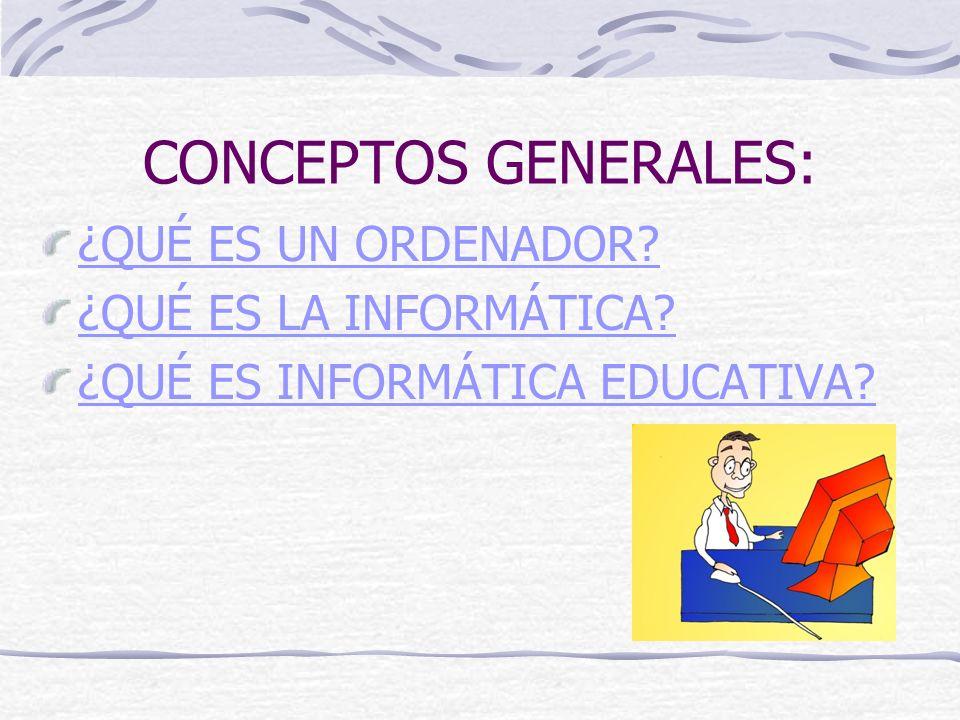 CONCEPTOS GENERALES: ¿QUÉ ES UN ORDENADOR? ¿QUÉ ES LA INFORMÁTICA? ¿QUÉ ES INFORMÁTICA EDUCATIVA?