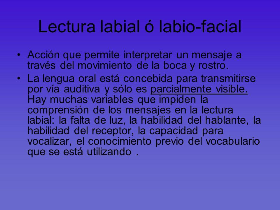 Lectura labial ó labio-facial Acción que permite interpretar un mensaje a través del movimiento de la boca y rostro. La lengua oral está concebida par