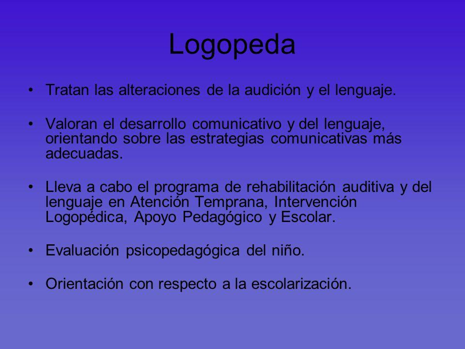 Logopeda Tratan las alteraciones de la audición y el lenguaje. Valoran el desarrollo comunicativo y del lenguaje, orientando sobre las estrategias com