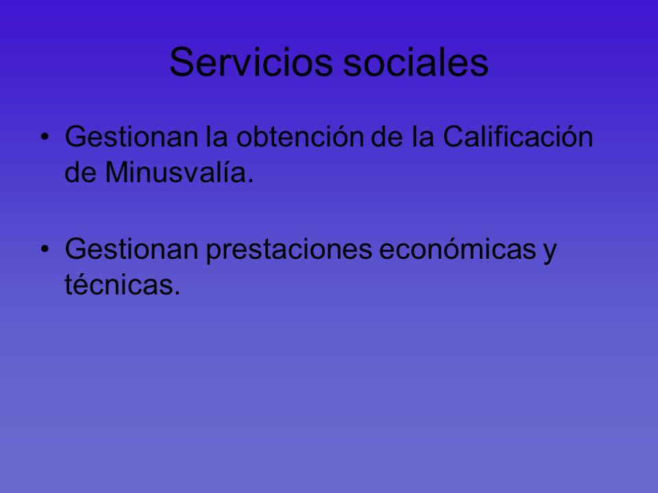 Servicios sociales Gestionan la obtención de la Calificación de Minusvalía. Gestionan prestaciones económicas y técnicas.