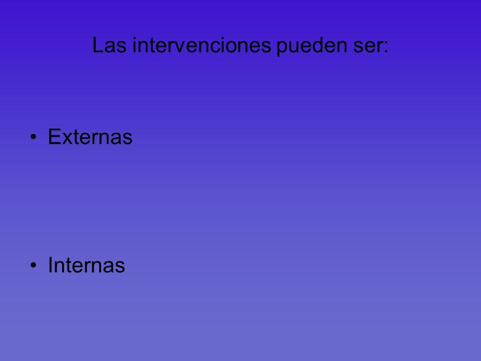 Las intervenciones pueden ser: Externas Internas