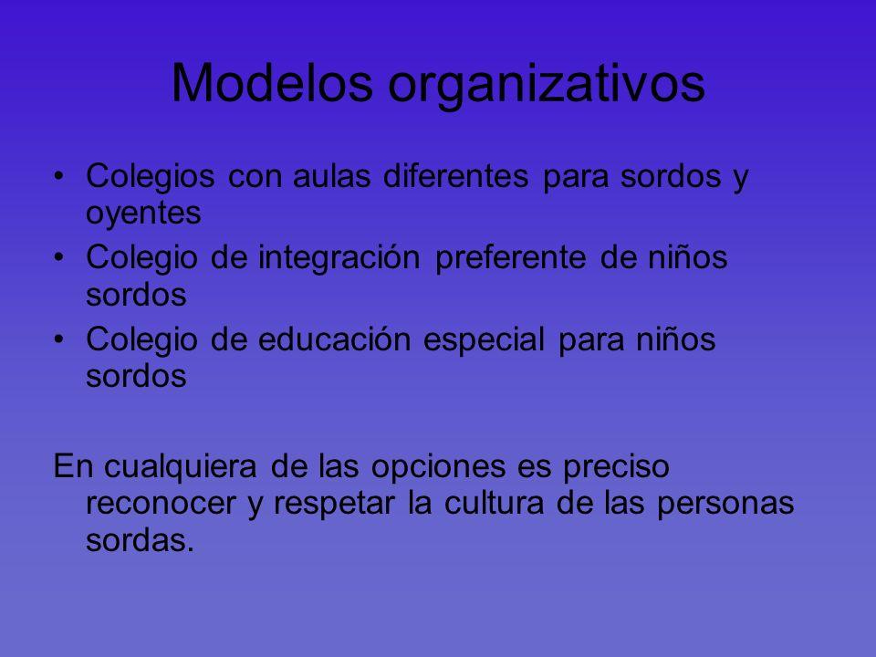 Modelos organizativos Colegios con aulas diferentes para sordos y oyentes Colegio de integración preferente de niños sordos Colegio de educación espec