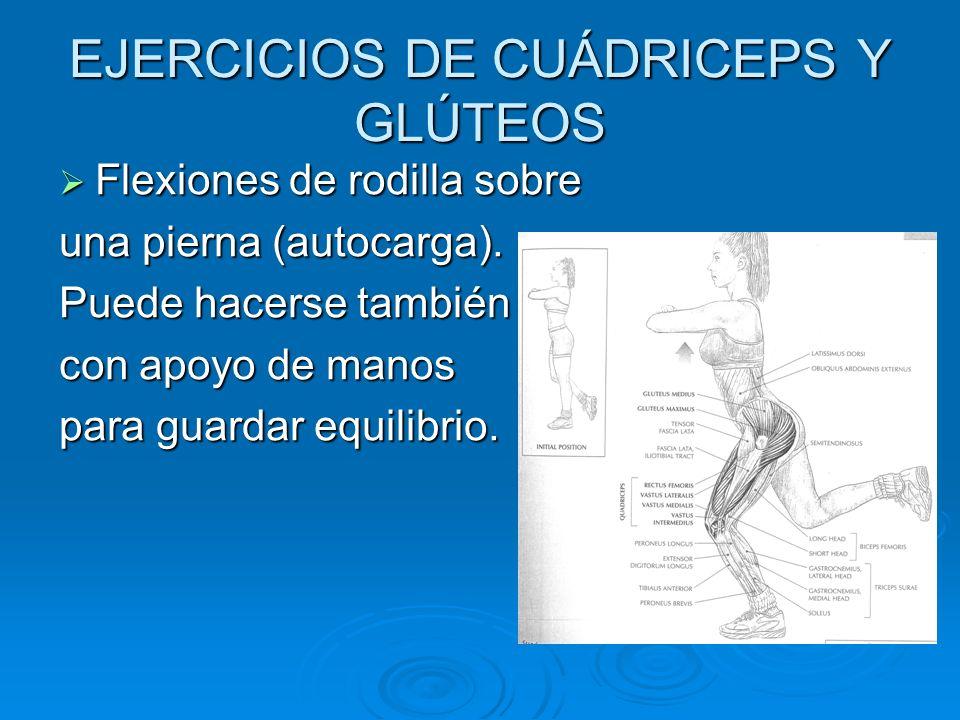 EJERCICIOS DE CUÁDRICEPS Y GLÚTEOS Flexiones de rodilla sobre Flexiones de rodilla sobre una pierna (autocarga). Puede hacerse también con apoyo de ma