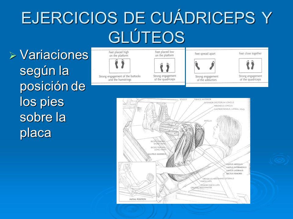 EJERCICIOS DE CUÁDRICEPS Y GLÚTEOS Variaciones según la posición de los pies sobre la placa Variaciones según la posición de los pies sobre la placa