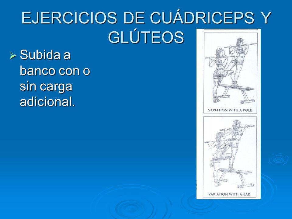 EJERCICIOS DE CUÁDRICEPS Y GLÚTEOS Subida a banco con o sin carga adicional. Subida a banco con o sin carga adicional.