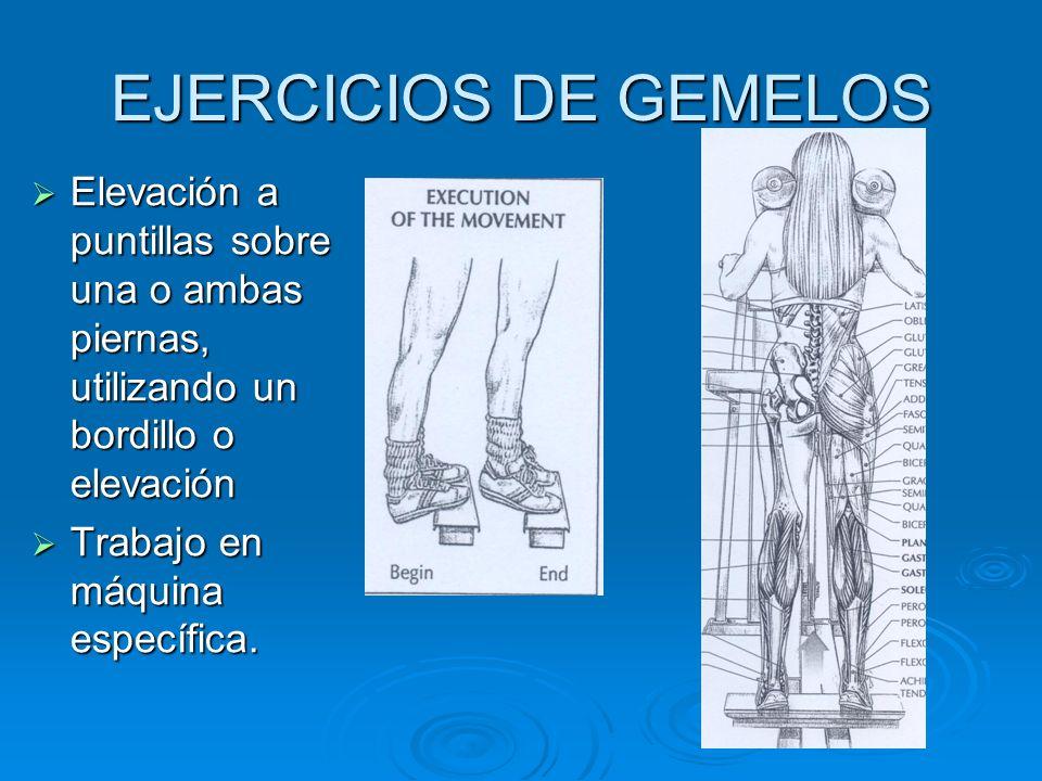EJERCICIOS DE GEMELOS Elevación a puntillas sobre una o ambas piernas, utilizando un bordillo o elevación Elevación a puntillas sobre una o ambas pier