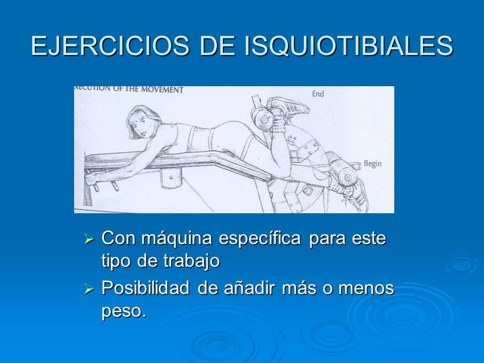 EJERCICIOS DE ISQUIOTIBIALES Con máquina específica para este tipo de trabajo Con máquina específica para este tipo de trabajo Posibilidad de añadir m