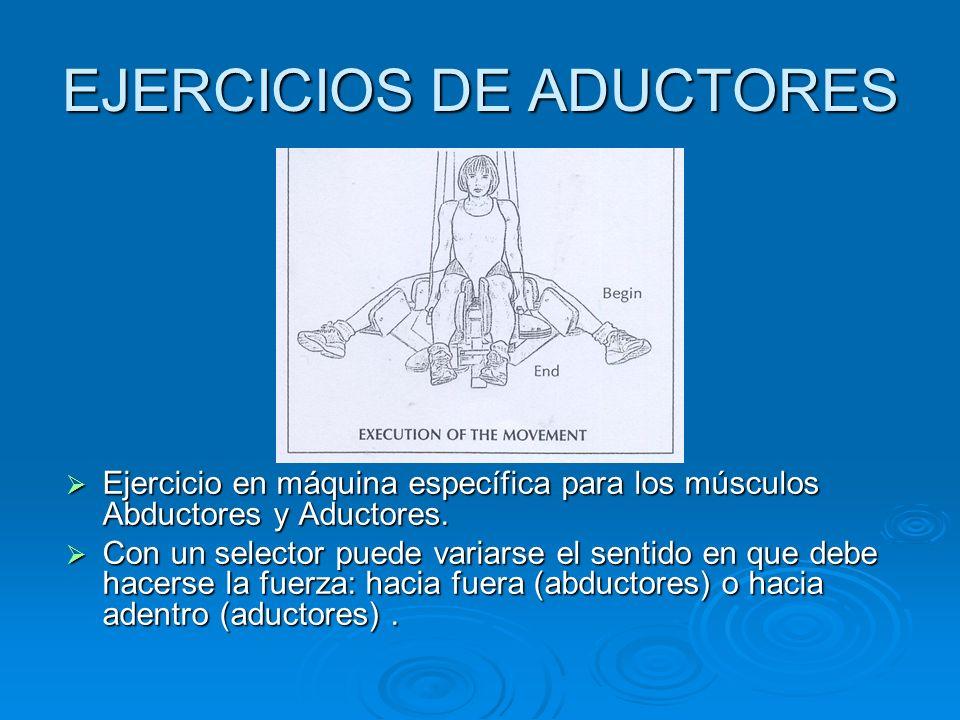 EJERCICIOS DE ADUCTORES Ejercicio en máquina específica para los músculos Abductores y Aductores. Ejercicio en máquina específica para los músculos Ab