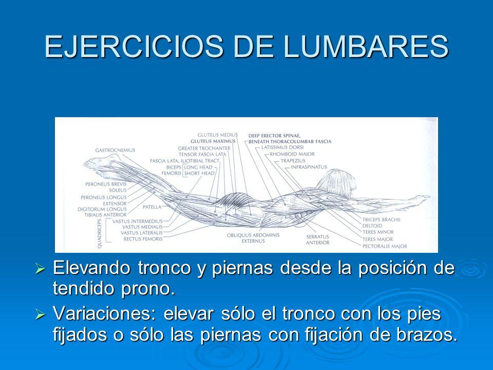 EJERCICIOS DE LUMBARES Elevando tronco y piernas desde la posición de tendido prono. Elevando tronco y piernas desde la posición de tendido prono. Var
