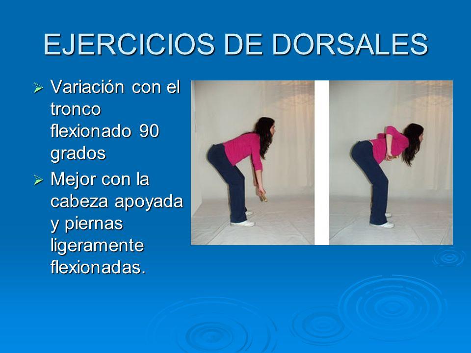 EJERCICIOS DE DORSALES Variación con el tronco flexionado 90 grados Variación con el tronco flexionado 90 grados Mejor con la cabeza apoyada y piernas