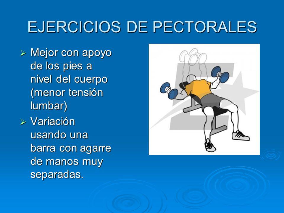 EJERCICIOS DE PECTORALES Mejor con apoyo de los pies a nivel del cuerpo (menor tensión lumbar) Mejor con apoyo de los pies a nivel del cuerpo (menor t