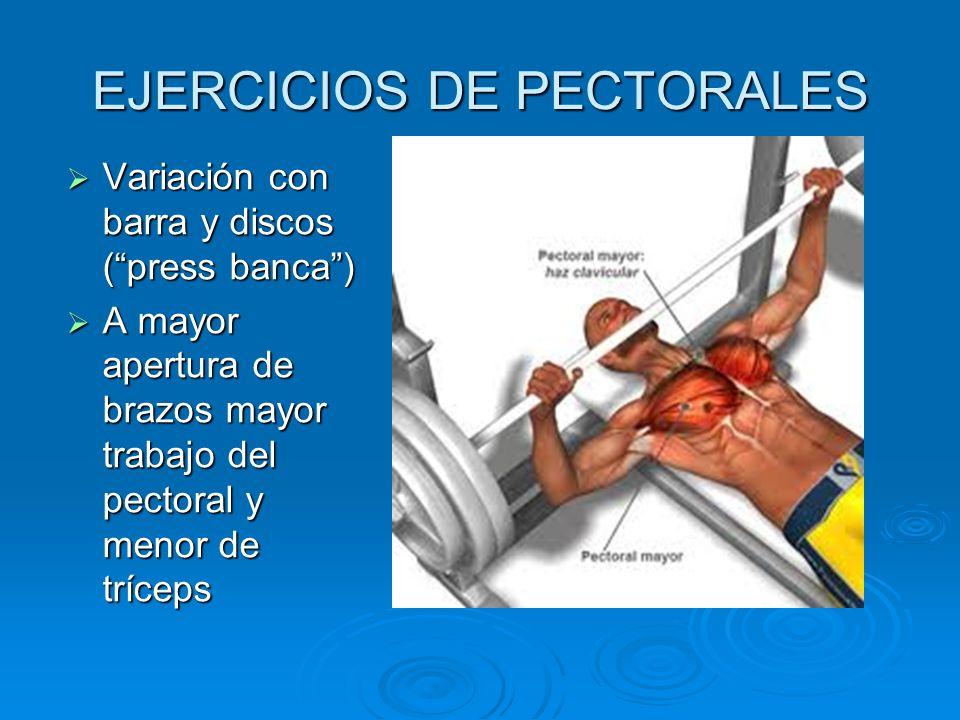 EJERCICIOS DE PECTORALES Variación con barra y discos (press banca) Variación con barra y discos (press banca) A mayor apertura de brazos mayor trabaj