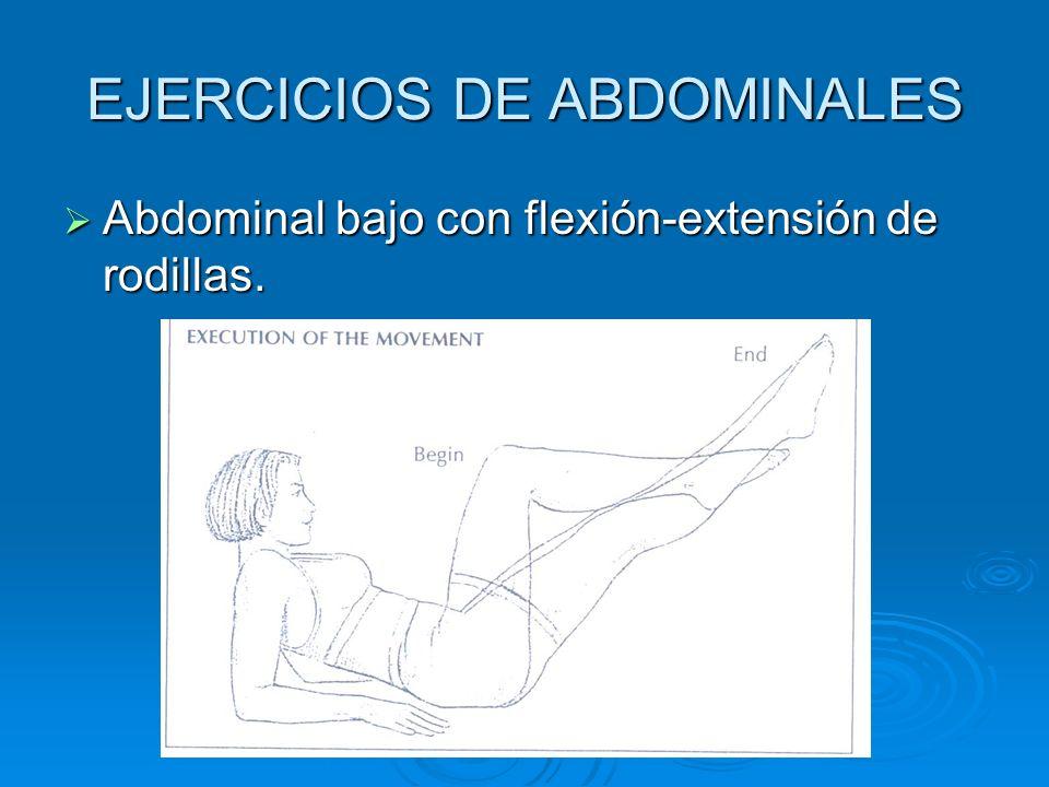EJERCICIOS DE ABDOMINALES Abdominal bajo con flexión-extensión de rodillas. Abdominal bajo con flexión-extensión de rodillas.