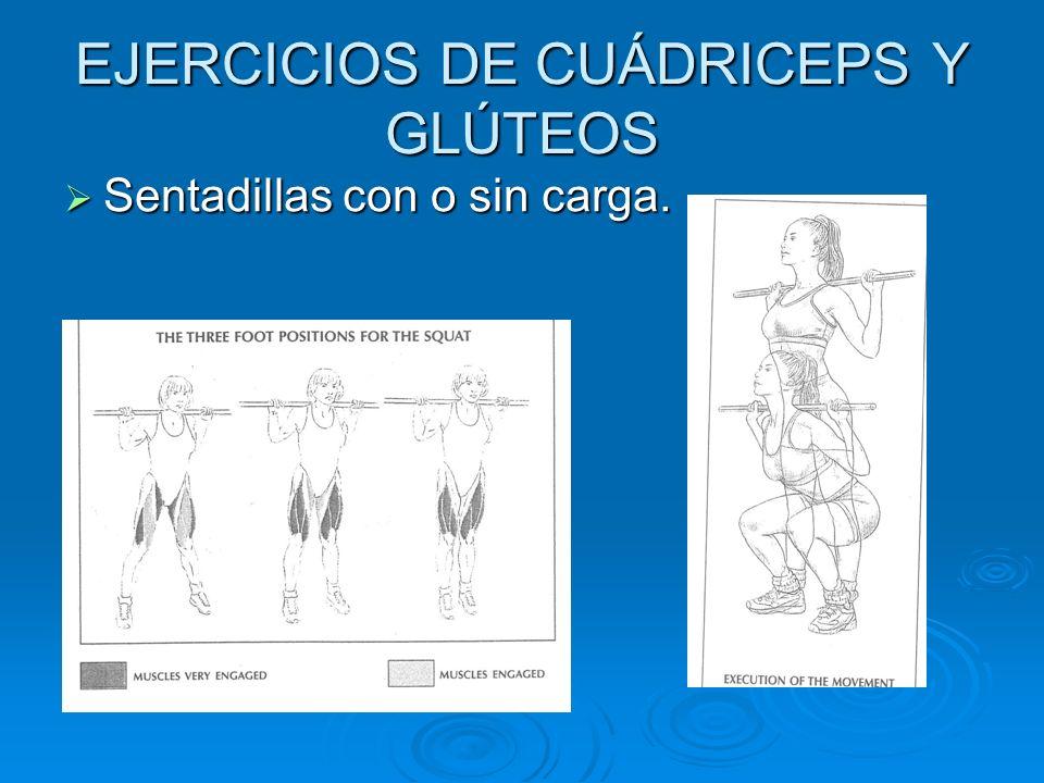 EJERCICIOS DE CUÁDRICEPS Y GLÚTEOS Sentadillas con o sin carga. Sentadillas con o sin carga.