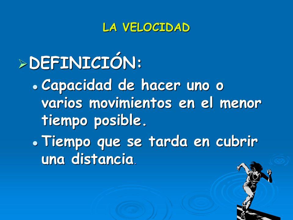 LA VELOCIDAD DEFINICIÓN: DEFINICIÓN: Capacidad de hacer uno o varios movimientos en el menor tiempo posible. Capacidad de hacer uno o varios movimient
