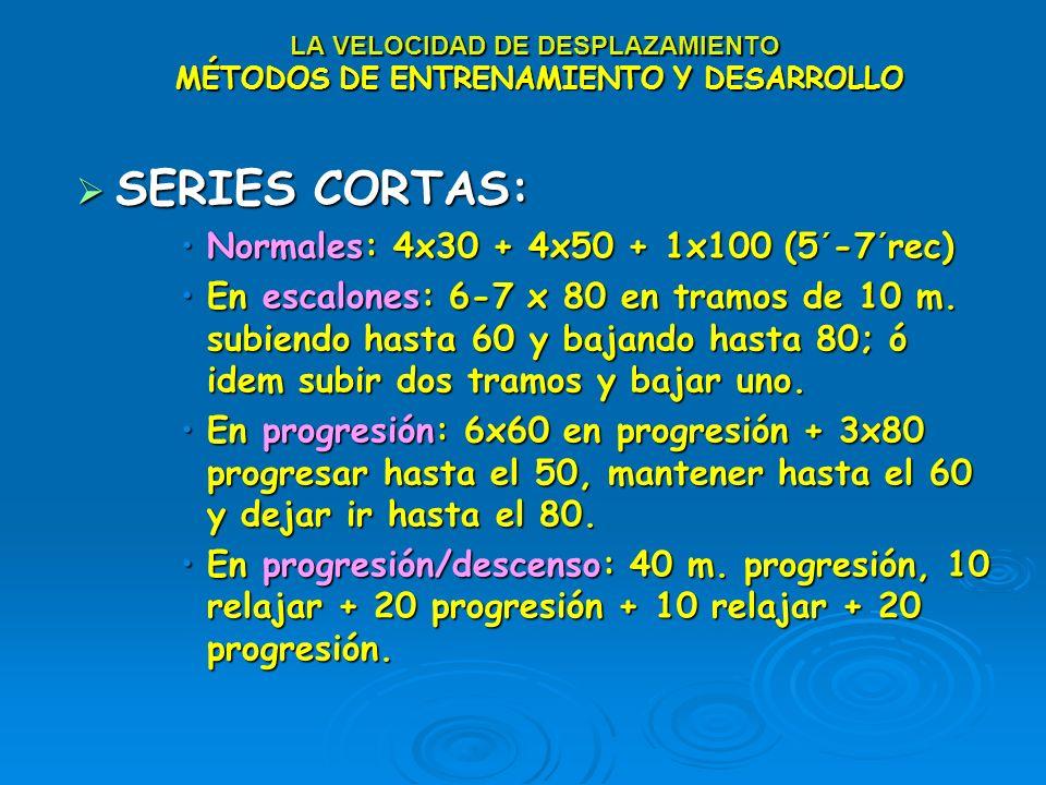 LA VELOCIDAD DE DESPLAZAMIENTO MÉTODOS DE ENTRENAMIENTO Y DESARROLLO SERIES CORTAS: SERIES CORTAS: Normales: 4x30 + 4x50 + 1x100 (5´-7´rec)Normales: 4