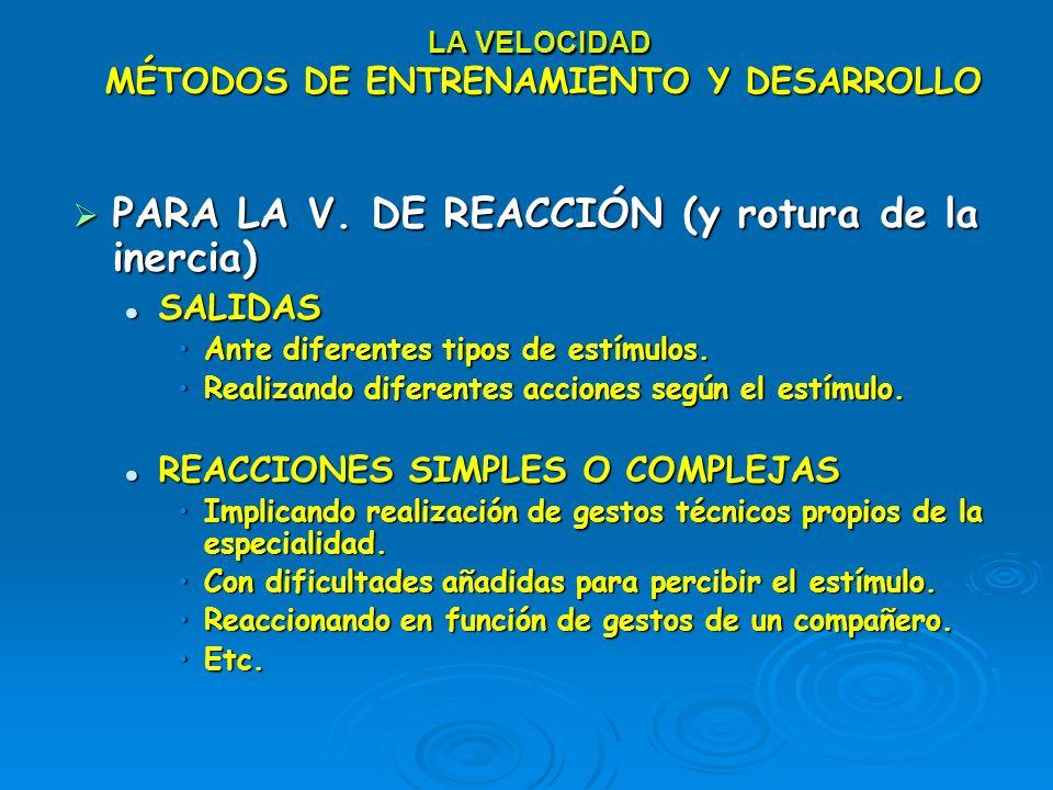LA VELOCIDAD MÉTODOS DE ENTRENAMIENTO Y DESARROLLO PARA LA V. DE REACCIÓN (y rotura de la inercia) PARA LA V. DE REACCIÓN (y rotura de la inercia) SAL