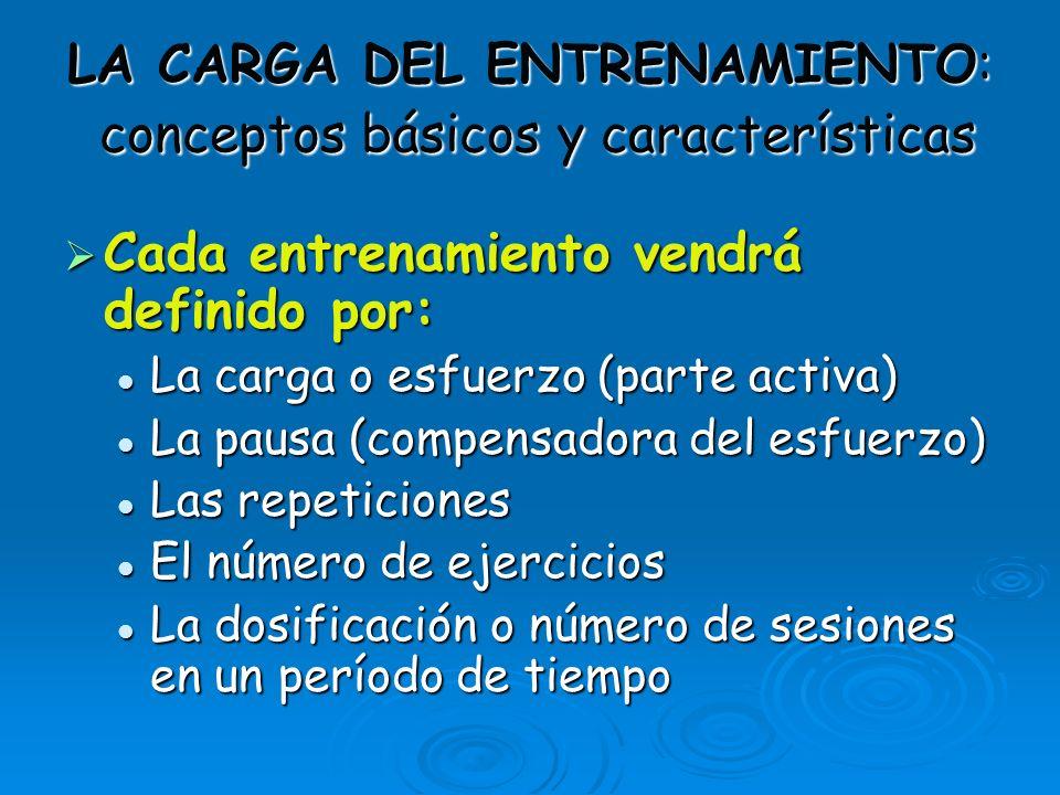 LA CARGA DEL ENTRENAMIENTO: conceptos básicos y características Cada entrenamiento vendrá definido por: Cada entrenamiento vendrá definido por: La car