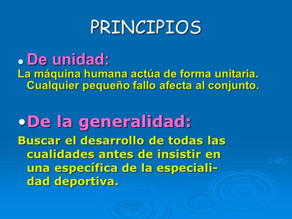 PRINCIPIOS De unidad: De unidad: La máquina humana actúa de forma unitaria. Cualquier pequeño fallo afecta al conjunto. De la generalidad:De la genera