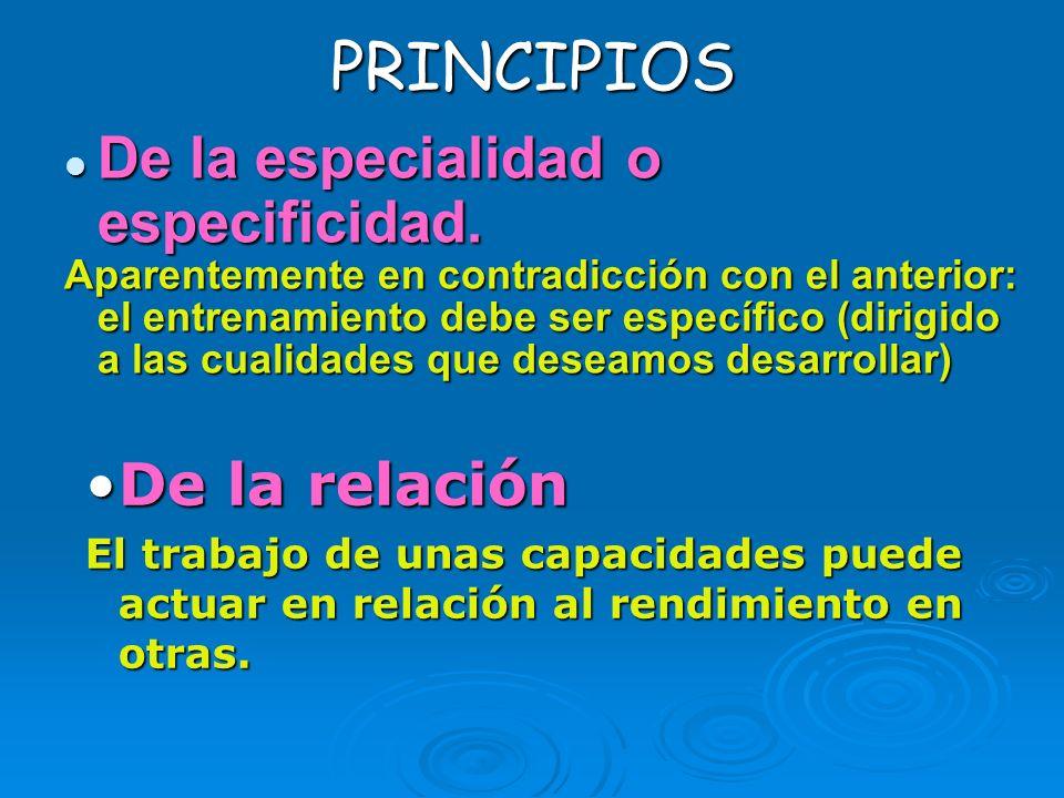 PRINCIPIOS De la especialidad o especificidad. De la especialidad o especificidad. Aparentemente en contradicción con el anterior: el entrenamiento de