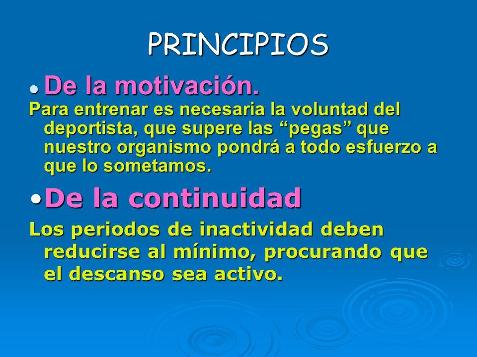 PRINCIPIOS De la motivación. De la motivación. Para entrenar es necesaria la voluntad del deportista, que supere las pegas que nuestro organismo pondr