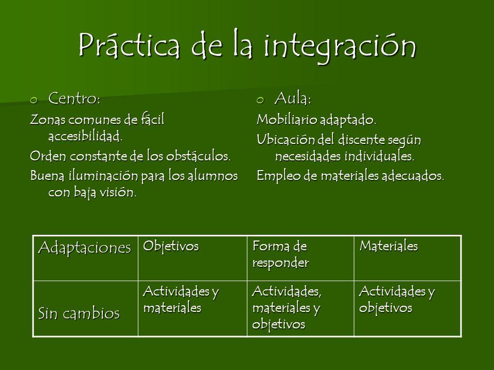 Práctica de la integración o Centro: Zonas comunes de fácil accesibilidad. Orden constante de los obstáculos. Buena iluminación para los alumnos con b