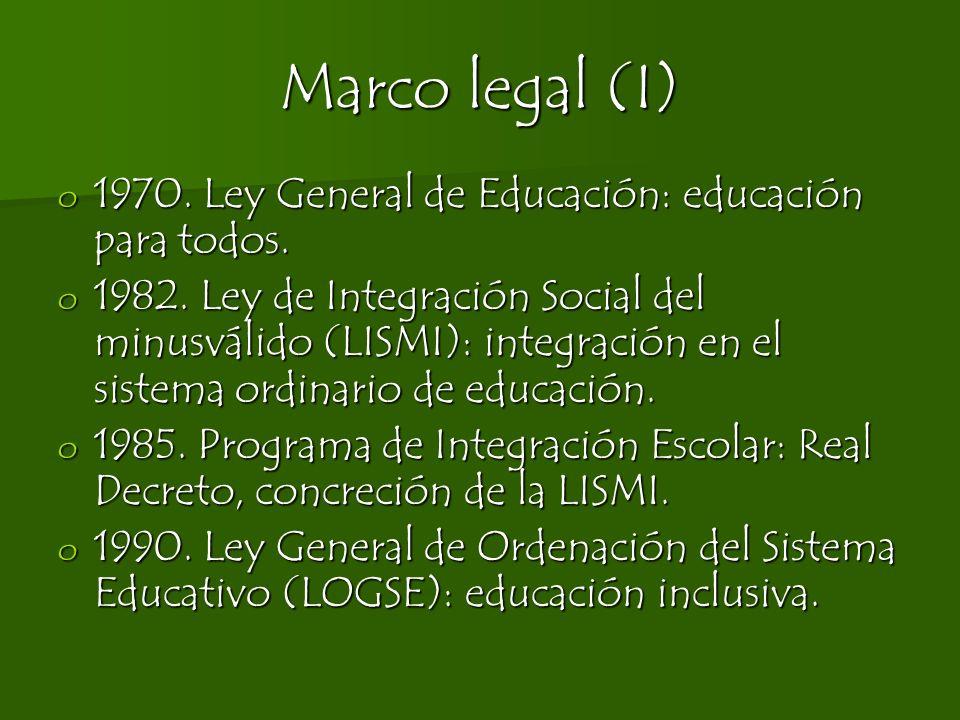 Marco legal (I) o 1970. Ley General de Educación: educación para todos. o 1982. Ley de Integración Social del minusválido (LISMI): integración en el s