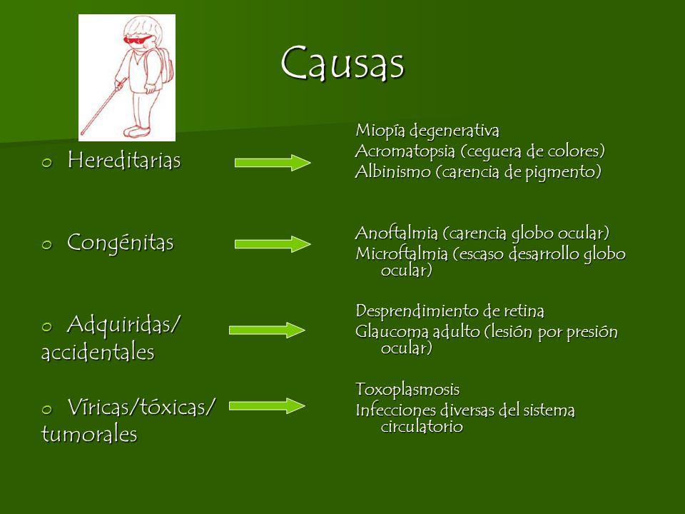 Causas o Hereditarias o Congénitas o Adquiridas/ accidentales o Víricas/tóxicas/ tumorales Miopía degenerativa Acromatopsia (ceguera de colores) Albin
