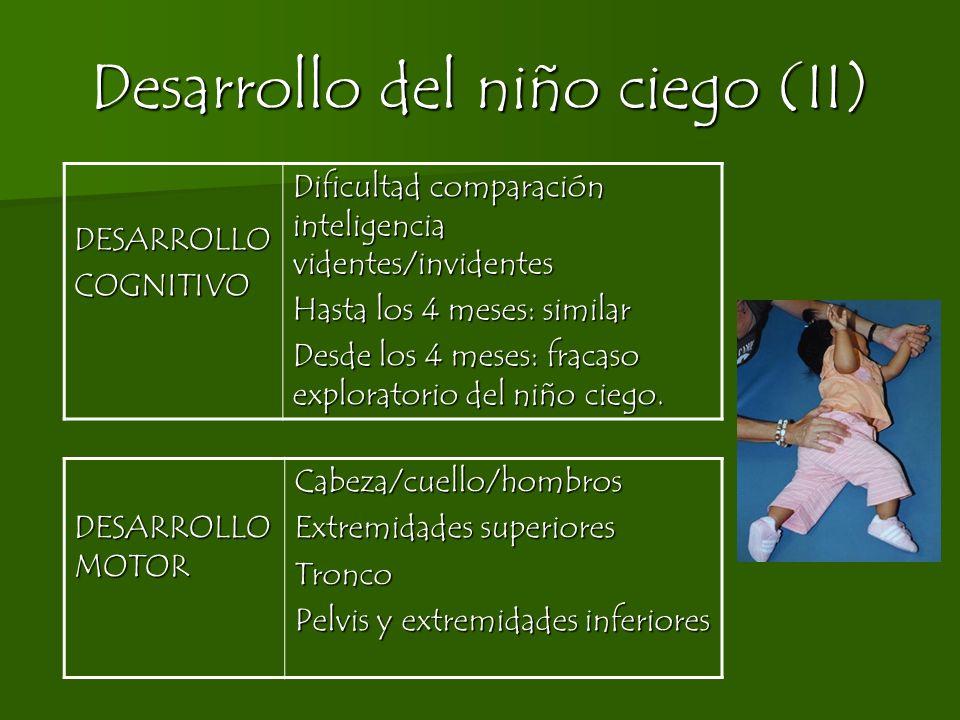 Desarrollo del niño ciego (II) DESARROLLOCOGNITIVO Dificultad comparación inteligencia videntes/invidentes Hasta los 4 meses: similar Desde los 4 mese