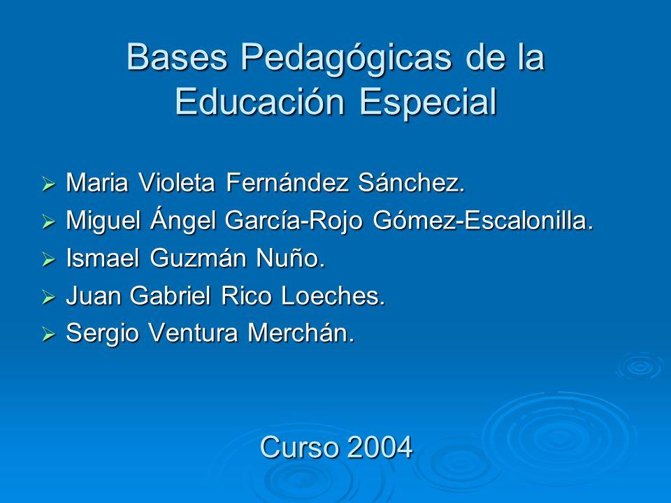 Bases Pedagógicas de la Educación Especial Maria Violeta Fernández Sánchez. Maria Violeta Fernández Sánchez. Miguel Ángel García-Rojo Gómez-Escalonill