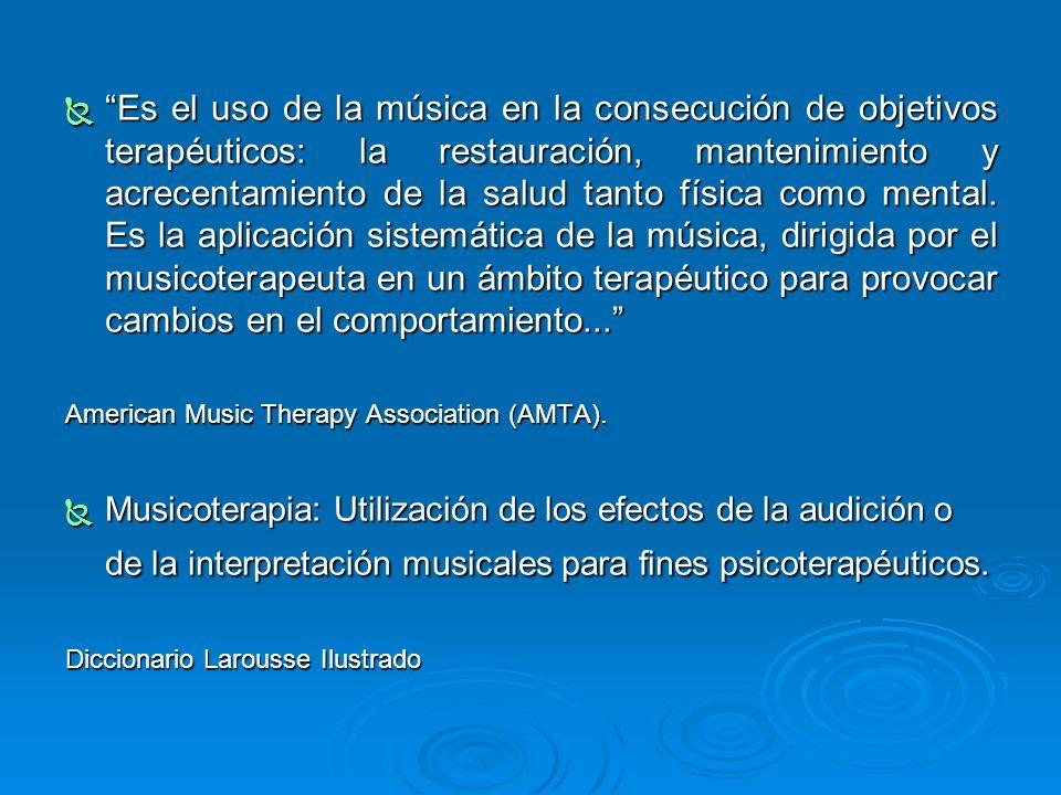 Es el uso de la música en la consecución de objetivos terapéuticos: la restauración, mantenimiento y acrecentamiento de la salud tanto física como men