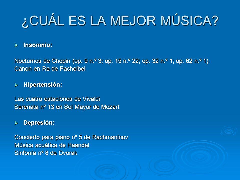 ¿CUÁL ES LA MEJOR MÚSICA? Insomnio: Insomnio: Nocturnos de Chopin (op. 9 n.º 3; op. 15 n.º 22; op. 32 n.º 1; op. 62 n.º 1) Canon en Re de Pachelbel Hi