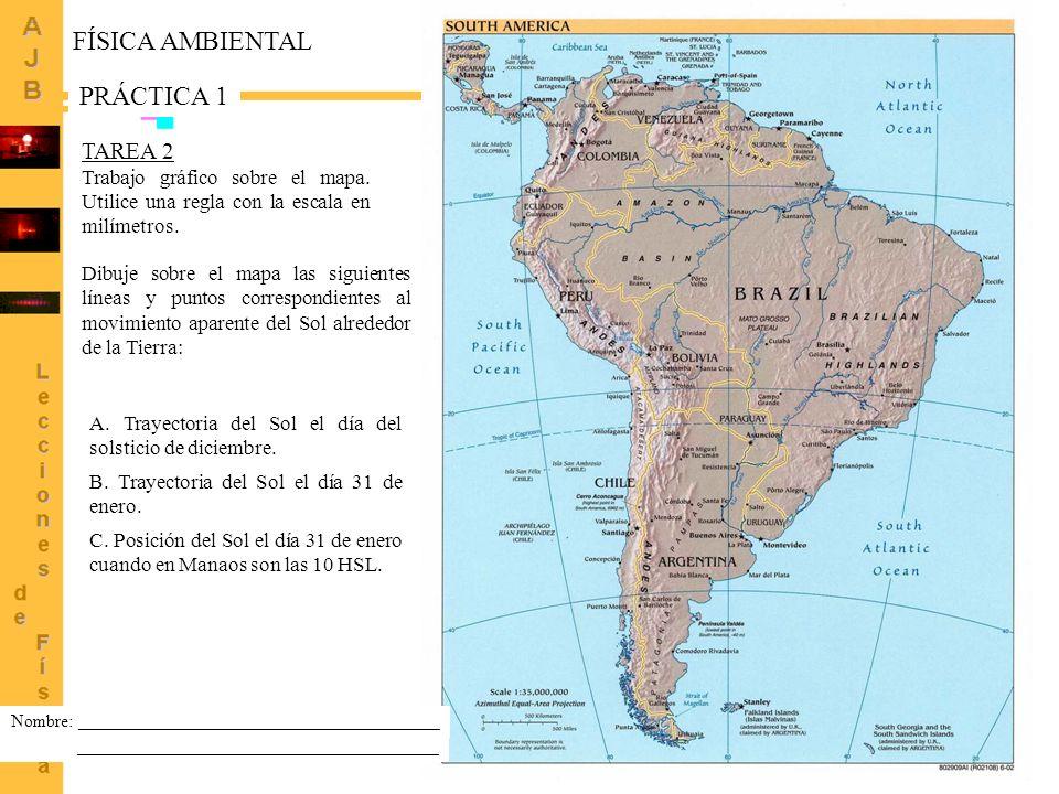 3 TAREA 1 Localice sobre el mapa adjunto las ciudades brasileñas de Macapa, Manaos y Belo Horizonte.