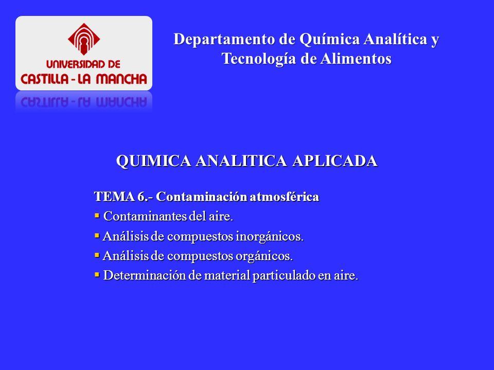 TEMA 6.- Contaminación atmosférica Contaminantes del aire. Contaminantes del aire. Análisis de compuestos inorgánicos. Análisis de compuestos inorgáni