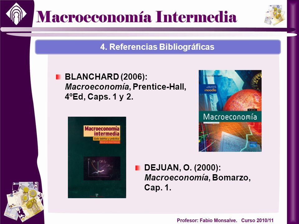 BLANCHARD (2006): Macroeconomía, Prentice-Hall, 4ºEd, Caps. 1 y 2. DEJUAN, O. (2000): Macroeconomía, Bomarzo, Cap. 1. 4. Referencias Bibliográficas