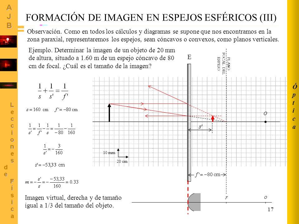 17 O F PLANO FOCAL DEL ESPEJO 20 cm 10 mm O E FORMACIÓN DE IMAGEN EN ESPEJOS ESFÉRICOS (III) Ejemplo. Determinar la imagen de un objeto de 20 mm de al