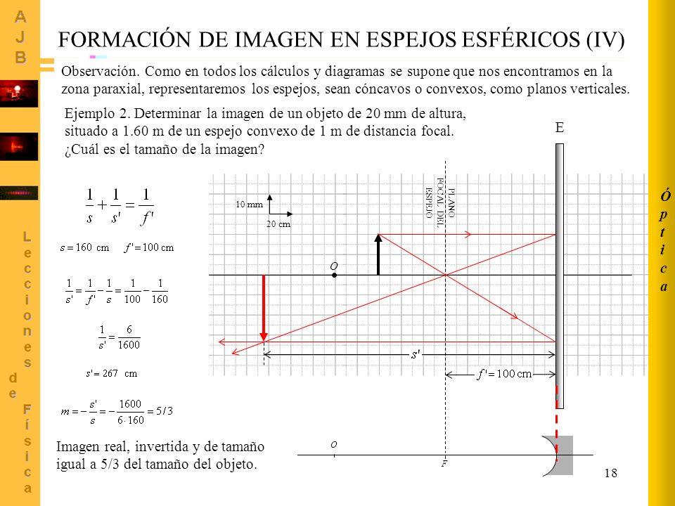18 O F PLANO FOCAL DEL ESPEJO 20 cm 10 mm O E FORMACIÓN DE IMAGEN EN ESPEJOS ESFÉRICOS (IV) Ejemplo 2. Determinar la imagen de un objeto de 20 mm de a