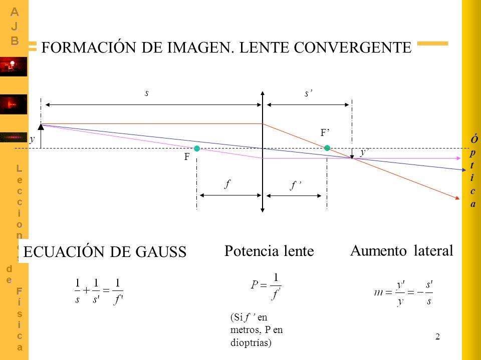 2 ÓpticaÓptica F F f f s s y y FORMACIÓN DE IMAGEN. LENTE CONVERGENTE ECUACIÓN DE GAUSS Aumento lateral (Si f en metros, P en dioptrías) Potencia lent