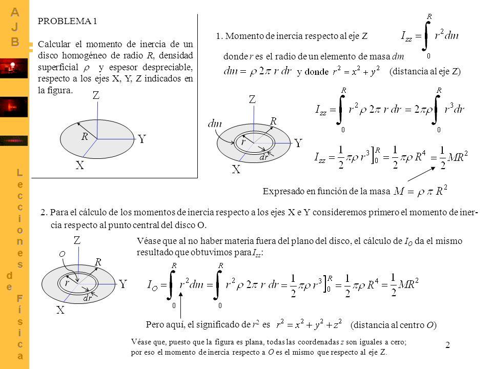 3 La relación entre el momento de inercia respecto al centro O y los momentos respecto a los ejes puede verse a partir de sus definiciones: Sumando estas tres En el caso del disco, sabemos que I O = I zz Además, como alrededor del eje Z el disco tiene simetría de revolución debe cumplirse que I xx = I yy Por lo tanto