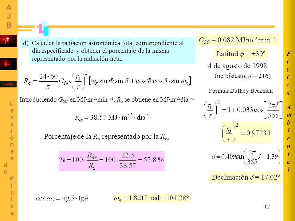 12 AmbientalAmbiental FísicaFísica Calcular la radiación astronómica total correspondiente al día especificado y obtener el porcentaje de la misma rep