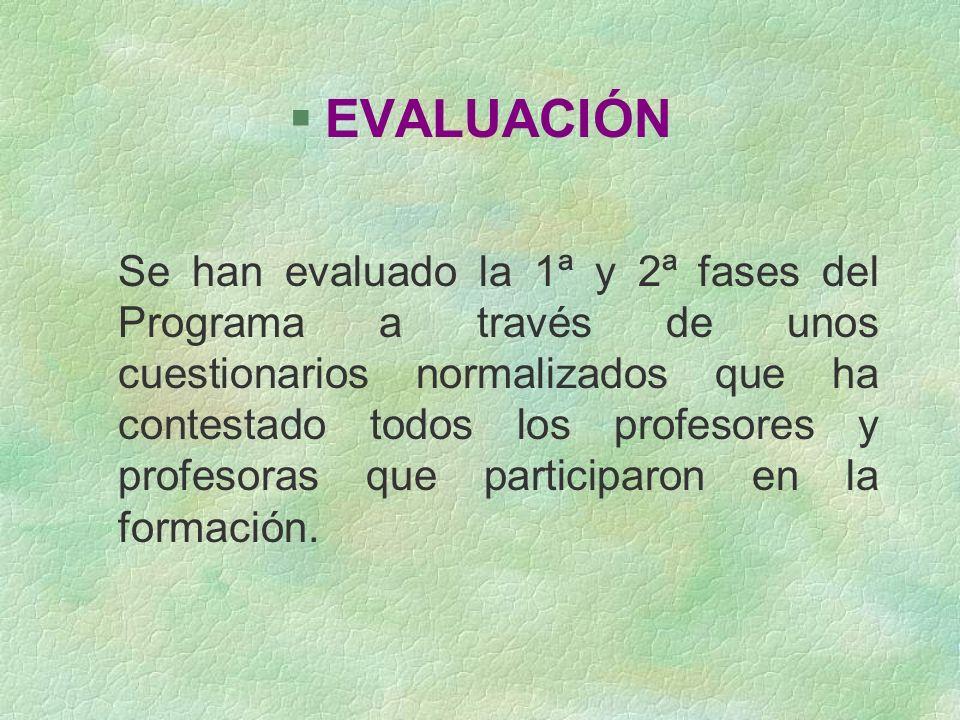 §EVALUACIÓN Se han evaluado la 1ª y 2ª fases del Programa a través de unos cuestionarios normalizados que ha contestado todos los profesores y profeso