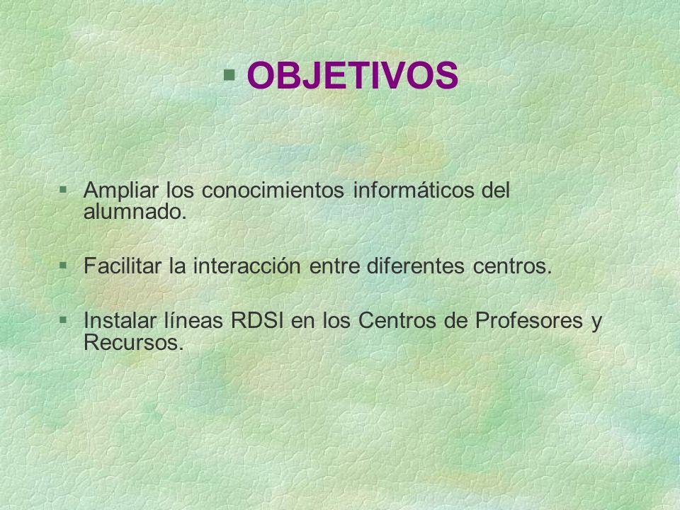 §OBJETIVOS §Ampliar los conocimientos informáticos del alumnado. §Facilitar la interacción entre diferentes centros. §Instalar líneas RDSI en los Cent