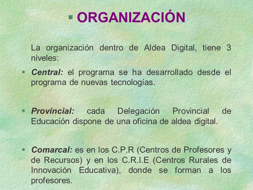 §ORGANIZACIÓN La organización dentro de Aldea Digital, tiene 3 niveles: §Central: el programa se ha desarrollado desde el programa de nuevas tecnologí