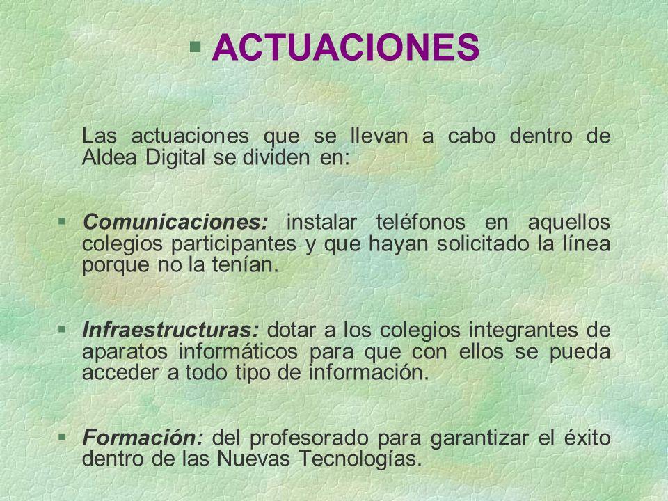 §ACTUACIONES Las actuaciones que se llevan a cabo dentro de Aldea Digital se dividen en: §Comunicaciones: instalar teléfonos en aquellos colegios part