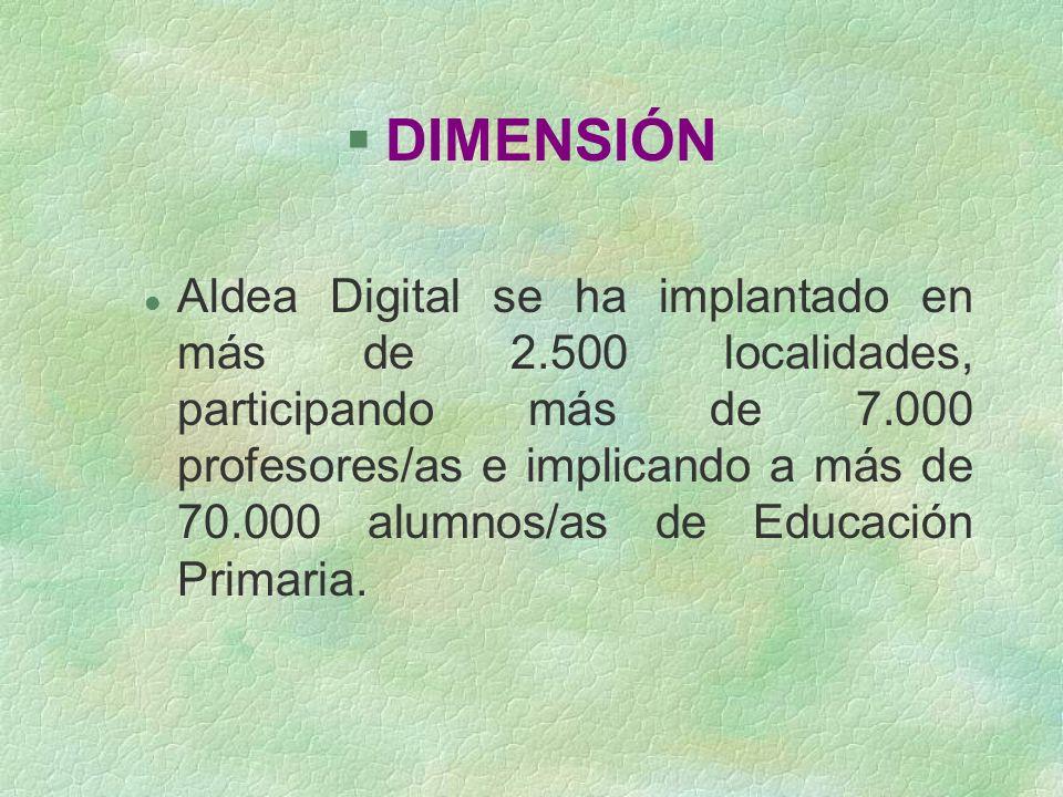§DIMENSIÓN l Aldea Digital se ha implantado en más de 2.500 localidades, participando más de 7.000 profesores/as e implicando a más de 70.000 alumnos/