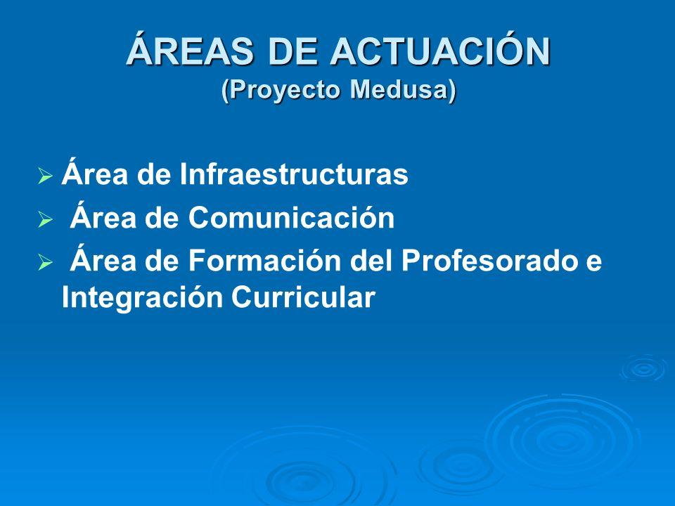 ÁREAS DE ACTUACIÓN (Proyecto Medusa) Área de Infraestructuras Área de Comunicación Área de Formación del Profesorado e Integración Curricular